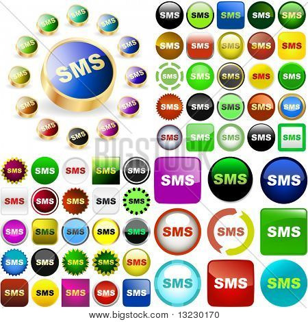 Sms button collection. Vector great collection.
