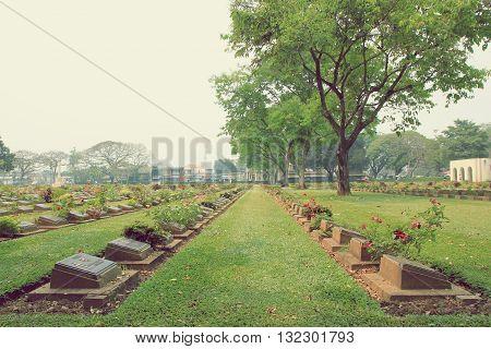 The Retro of Kanchanaburi war cemetery historic