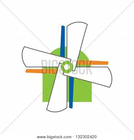 Beautiful colorful windmill concept vector illustration isolated on white background.