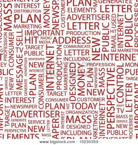 Advertising and marketing. Seamless background with words. Vector pattern.