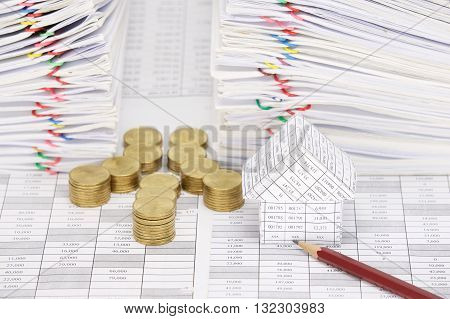 Close Up House And Pencil With Coins Have Dual Document