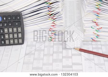 House And Pencil Have Dual Overload Document As Background