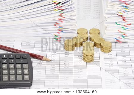 Step Pile Of Gold Coins And Pencil With Dual Document