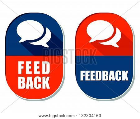feedback and speech bubbles symbols, two elliptic flat design labels with icons, business and communication concept, vector