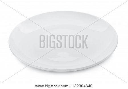 White plate on white background dish dishware