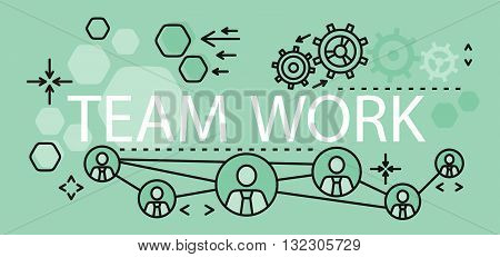 Team work concept banner design. Banner with text team work, concept business strategy and idea management and planning. Development teamwork and corporate collaboration. Vector illustration