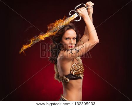 fantasy concept, of a young girl, warrior strong, brave, muscular. holding large sword in hand