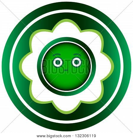 Green icon with the conceptual abstract face