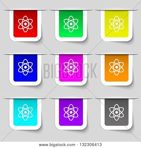 Atom, Physics Icon Sign. Set Of Multicolored Modern Labels For Your Design. Vector