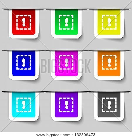 The Exclamation Point In A Square Icon Sign. Set Of Multicolored Modern Labels For Your Design. Vect