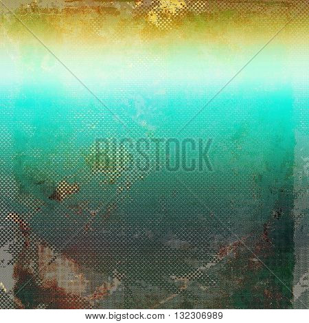 Abstract vintage background with faded grungy texture. Aged backdrop with different color patterns: yellow (beige); brown; green; blue; gray; cyan