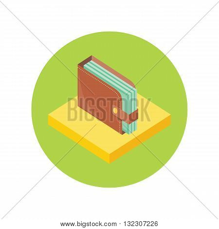 Flat isometric brown full wallet with cash money. Leather wallet with dollars. 3d leather purse with banknotes. Purse with money. Vector illustration