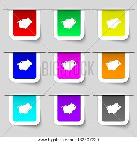 Piggy Bank Icon Sign. Set Of Multicolored Modern Labels For Your Design. Vector