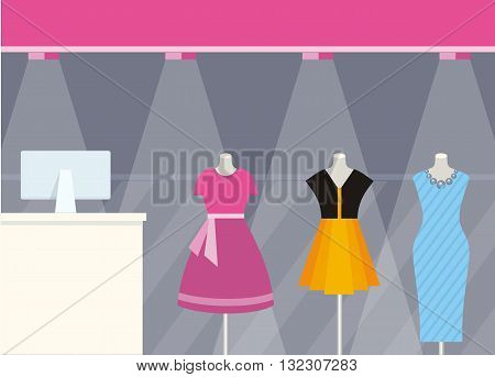Shop front clothing store design flat style. Fashion woman wearing colorful dresses on mannequins that are behind glass shop illuminated by searchlights. Shopping centre design. Vector illustration