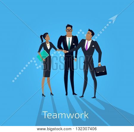Our success team design. Teamwork and business our team business, office team, business success, work people, company and leadership, businessman and worker, resource office vector illustration