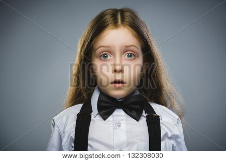 Closeup Portrait of wondering girl going surprise on gray background.