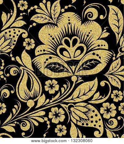 Vector Gold glittering Khokhloma seamless pattern. Gold floral background background
