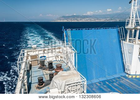 The ramp of a ferry boat sailing across the strait of Messina