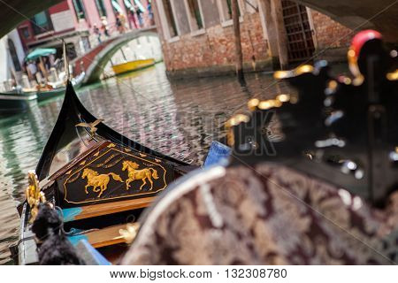 Gondola nose on water, Venice channel