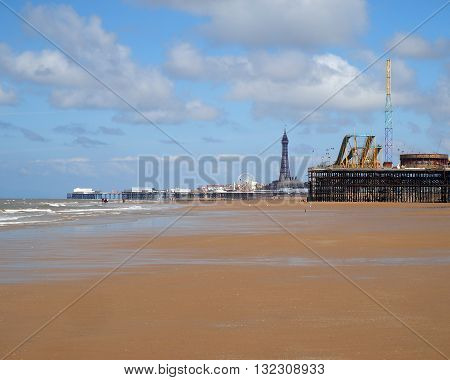 Three Piers at Blackpool,Lancashire,UK with historic  tower
