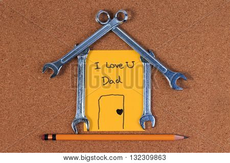 Engineer Tools, Wrench Tools In The Shape Of A House, Home Sweet Home Concept On Wood Table.