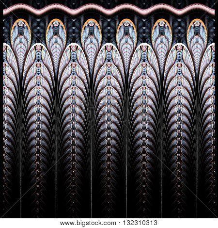 Symmetrical blue fractal flower digital logarithm for creative graphic