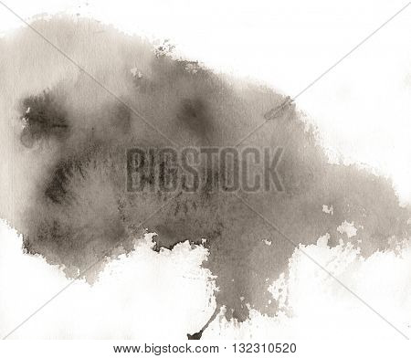 Grey spot, watercolor abstract hand painted background. Abstract toned monochrome stain.