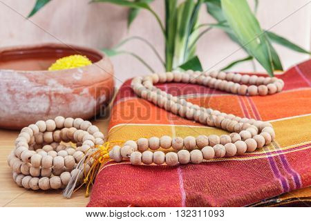 Rosary beads necklace on Silk cloth Thailand