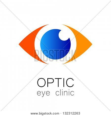Optic eye clinic logo. Optic logo design template for medical care. Eye logo template. Idea for ophthalmic clinic or eye clinic. Ophthalmology. Vector illustration.