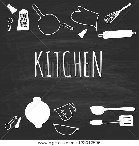 Kitchenware, drawn on a blackboard. kitchenware. Vector