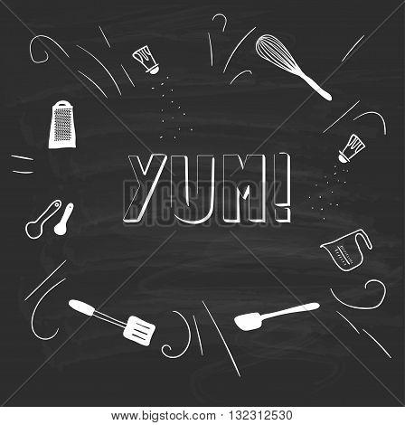 Kitchenware, drawn on a blackboard. Vector. Yum