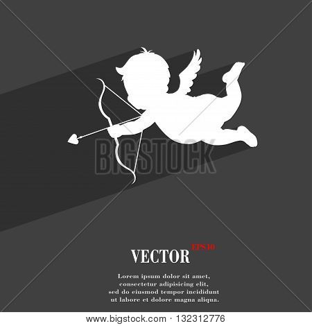Cupid Symbol Flat Modern Web Design With Long Shadow And Space For Your Text. Vector