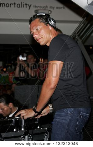 DJ Tiesto performs to his fans held at the Virgin Megastore in West Hollywood, USA on August 10, 2007.