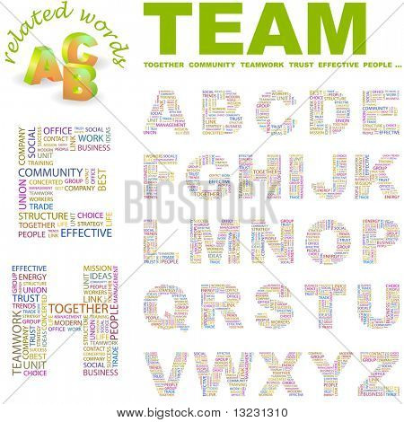 TEAM. Vector letter collection. Wordcloud illustration.