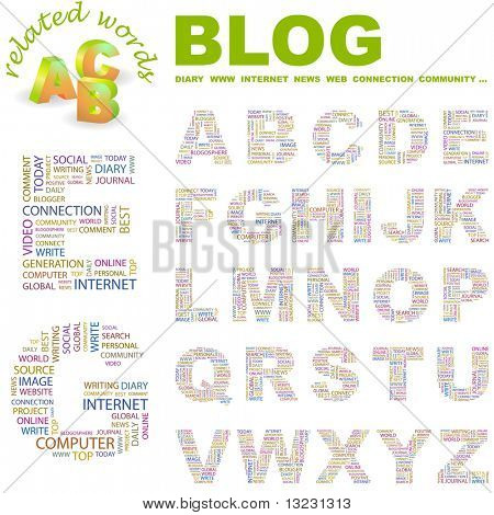 BLOG. Vector letter collection. Wordcloud illustration.