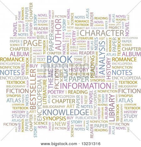 BOOK. Word collage on white background. Vector illustration.