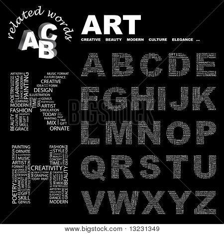 ARTE. Colección de la letra del vector. Ilustración de Wordcloud.