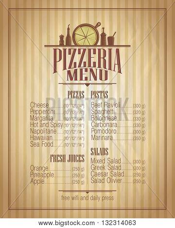 Pizzeria menu list design, retro style mock up