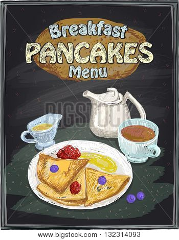 Chalkboard breakfast menu design with pancakes, cup of tea and honey