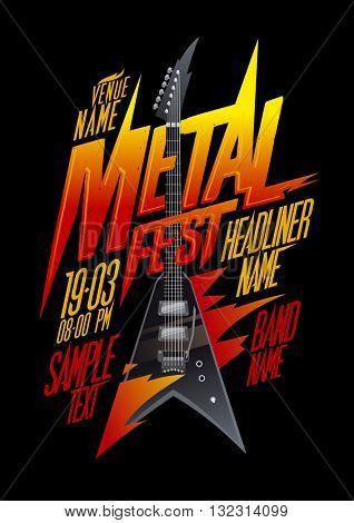 Metal fest poster design with vintage v style electro guitar, copy space mockup