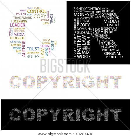 COPYRIGHT. Word collage. Vector illustration.