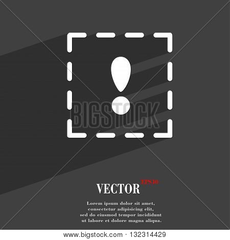 The Exclamation Point In A Square Symbol Flat Modern Web Design With Long Shadow And Space For Your