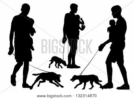 Father and child walking with a dog. Father carries the child in her arms. They walk with the dog. Silhouette on a white background.
