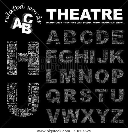 THEATRE. Vector letter collection. Wordcloud illustration.