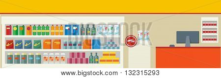 Grocery store with a showcase and a cash counter. Interior Food store on the counter selection of canning food and drinks in the flat design style. Shopping centre and consumerism. Vector illustration