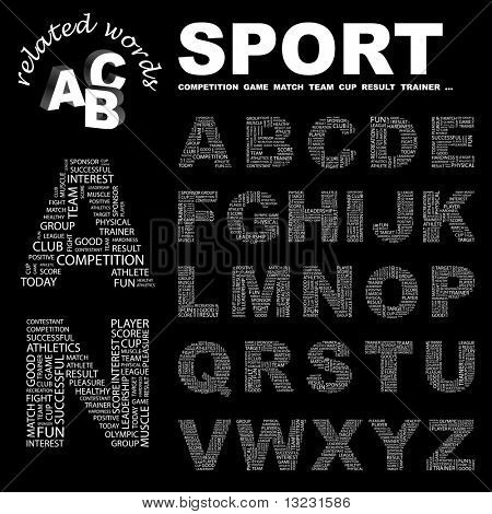SPORT. Vector letter collection. Wordcloud illustration.