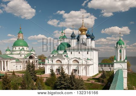 ROSTOV RUSSIA MAY 08. 2016: - Rostov the Great Spaso-Yakovlevsky Dmitriev monastery The Cathedral Of The Conception Of Anne and The Church Of Jacob Of Rostov and The Cathedral Of St. Dimitry Of Rostov