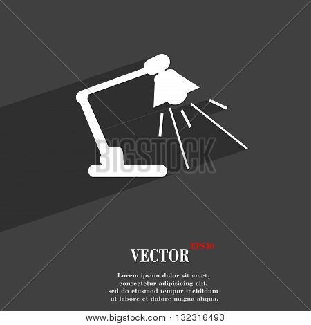 Reading-lamp Symbol Flat Modern Web Design With Long Shadow And Space For Your Text. Vector