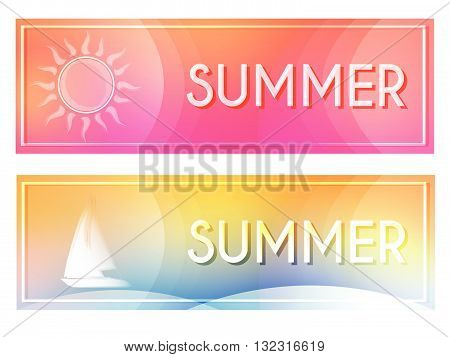 text summer with white sun and boat in banners with frame over pink and yellow blue backgrounds, seasonal flat design labels, vector
