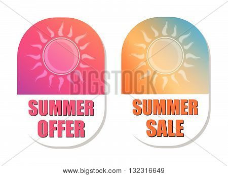 summer offer and summer sale banners - text in pink and orange flat design labels with sun symbols, business seasonal shopping concept, vector